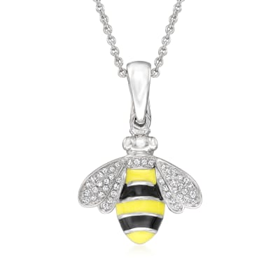 .13 ct. t.w. Diamond Bumblebee Pendant Necklace with Black and Yellow Enamel in Sterling Silver
