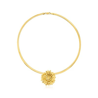 18kt Gold Over Sterling Sunflower Slide Pendant Necklace