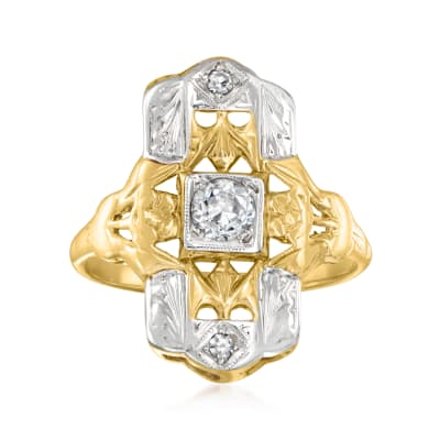 C. 1940 Vintage .25 ct. t.w. Diamond Shield Ring in 14kt Two-Tone Gold