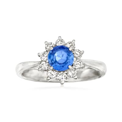 C. 1990 Vintage .79 Carat Sapphire and .35 ct. t.w. Diamond Ring in Platinum