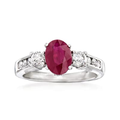 1.50 Carat Ruby and .50 ct. t.w. Diamond Ring in 14kt White Gold