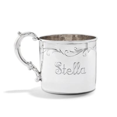 Empire Baby's Sterling Silver Floral Personalized Etched Cup