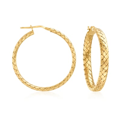 Italian 18kt Gold Over Sterling Basketweave Hoop Earrings