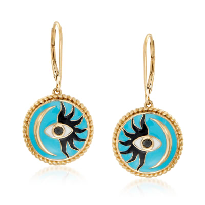Black and Blue Enamel Evil Eye, Sun and Moon Drop Earrings in 18kt Gold Over Sterling
