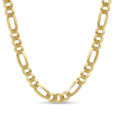 Italian Men's 8.1mm 18kt Gold Over Sterling Figaro Chain