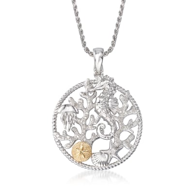 .15 ct. t.w. Diamond Sea Life Pendant Necklace in Sterling Silver with 14kt Yellow Gold
