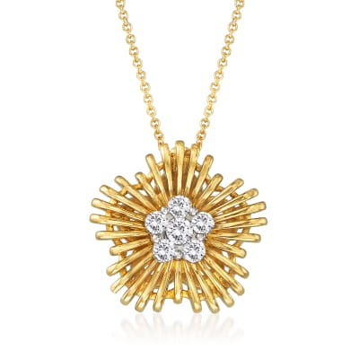 Simon G. .31 ct. t.w. Diamond Flower Pendant Necklace in 18kt Yellow Gold