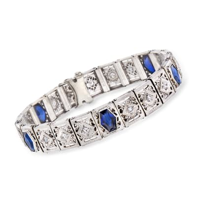 C. 1950 Vintage 5.00 ct. t.w. Synthetic Sapphire and 1.05 ct. t.w. Diamond Bracelet in Platinum