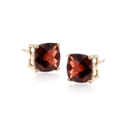 4.00 ct. t.w. Garnet Stud Earrings in 14kt Yellow Gold