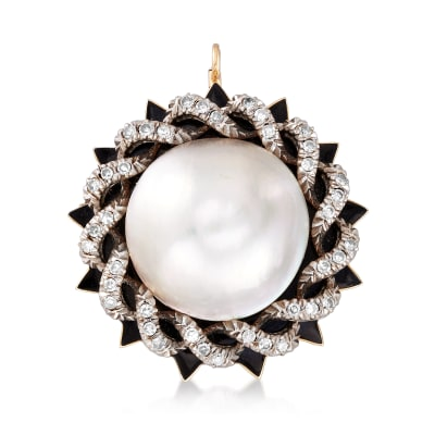 C. 1980 Vintage 21mm Cultured Mabe Pearl and .70 ct. t.w. Diamond Pin/Pendant with Black Enamel in 14kt Two-Tone Gold