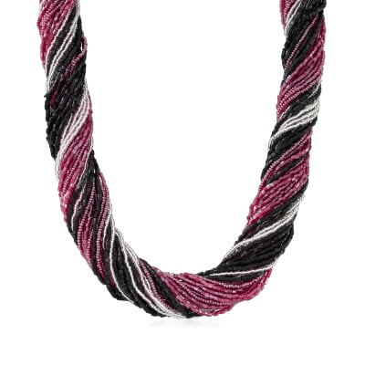 Italian Black, Silver and Burgandy Murano Glass Bead Torsade Necklace with Sterling Silver