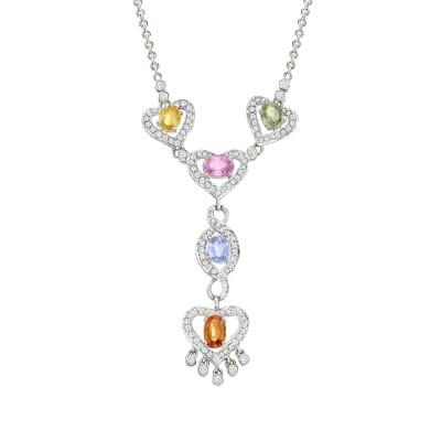C. 1990 Vintage 3.00 ct. t.w. Multicolored Sapphire and 1.00 ct. t.w. Diamond Heart Y-Necklace in 18kt White Gold