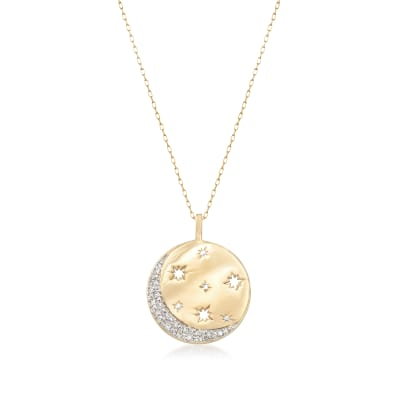 .10 ct. t.w. Diamond Moon and Star Disc Pendant Necklace in 18kt Gold Over Sterling
