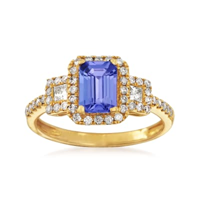 1.00 Carat Tanzanite and .52 ct. t.w. Diamond Ring in 14kt Yellow Gold