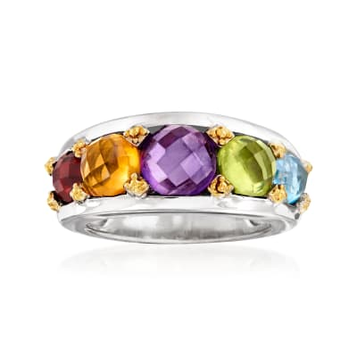 6.20 ct. t.w. Multi-Gemstone Ring in Sterling Silver and 18kt Gold Over Sterling