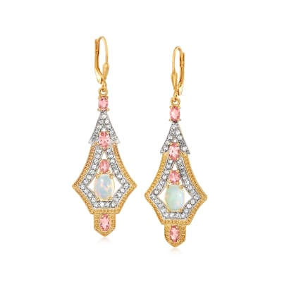 Opal, 1.40 ct. t.w. Pink Tourmaline and 1.40 ct. t.w. White Topaz Drop Earrings in 18kt Gold Over Sterling