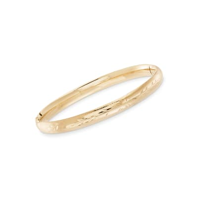Child's 14kt Yellow Gold Floral Bangle Bracelet