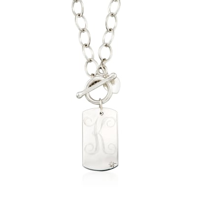 Sterling Silver Single Initial Dog Tag Toggle Necklace with Diamond Accent