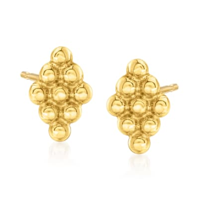 14kt Yellow Gold Beaded Diamond-Shaped Stud Earrings