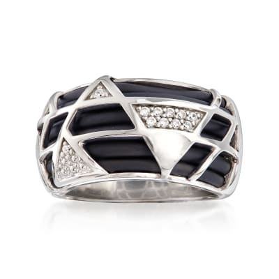 "Belle Etoile ""Trilogy"" Black Rubber Ring with CZ Accents in Sterling Silver"