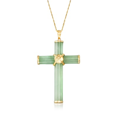 Jade Cross Pendant Necklace in 14kt Yellow Gold