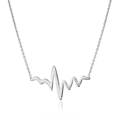 14kt White Gold Heartbeat Necklace