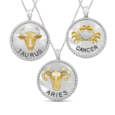Diamond Zodiac Pendant Necklace in Two-Tone Sterling Silver