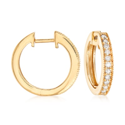 .25 ct. t.w. Diamond Hoop Earrings with Beaded Edge in 18kt Gold Over Sterling