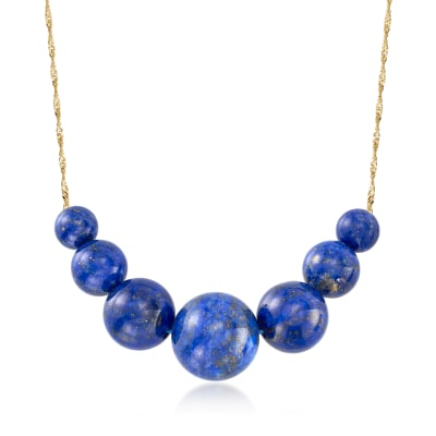 6-12mm Lapis Graduated Necklace in 14kt Yellow Gold