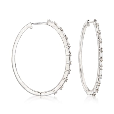 .26 ct. t.w. Diamond Hoop Earrings in 14kt White Gold