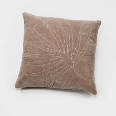 Joanna Buchanan Taupe Cotton Velvet Embroidered Palm Frond Pillow