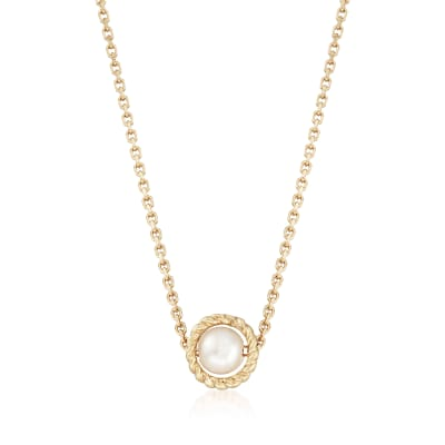 "Phillip Gavriel ""Italian Cable"" 4.5mm Cultured Pearl Pendant Necklace in 14kt Yellow Gold"