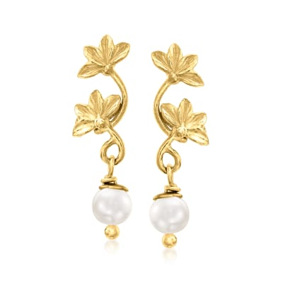 Italian 5mm Cultured Pearl Lotus Flower Drop Earrings in 18kt Gold Over Sterling