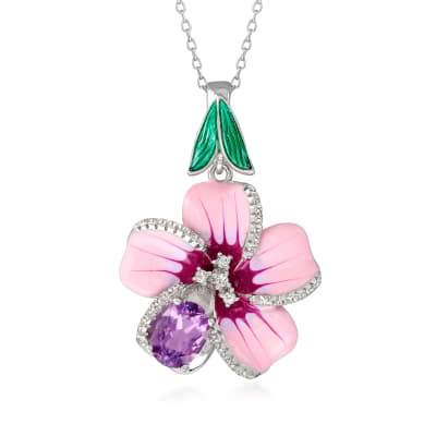 1.10 Carat Brazilian Amethyst and .20 ct. t.w. White Topaz Flower Pendant Necklace with Multicolored Enamel in Sterling Silver