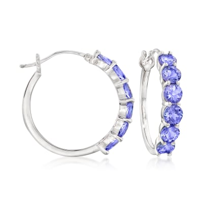 4.50 ct. t.w. Tanzanite Hoop Earrings in Sterling Silver