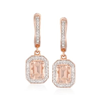 1.60 ct. t.w. Morganite Earrings with Diamonds in 14kt Rose Gold Over Sterling