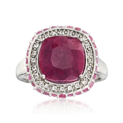 6.20 ct. t.w. Ruby and .10 ct. t.w. White Topaz Ring in Sterling Silver