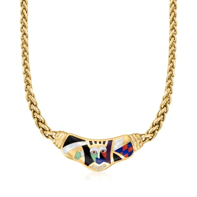 C. 1990 Vintage Asch Grossbardt Multi-Gemstone and .12 ct. t.w. Diamond Mosaic Necklace in 18kt Yellow Gold