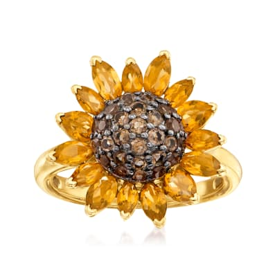 1.70 ct. t.w. Citrine and .80 ct. t.w. Smoky Quartz Sunflower Ring in 18kt Gold Over Sterling