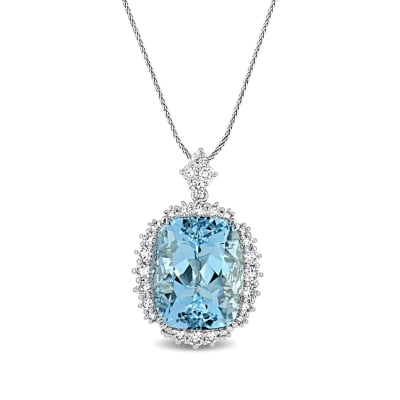 14.00 Carat Aquamarine Pendant Necklace with 1.09 ct. t.w. Diamonds in 14kt White Gold