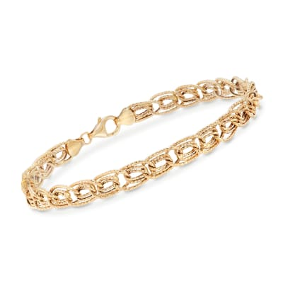 14kt Yellow Gold Textured Triple Curb-Link Bracelet