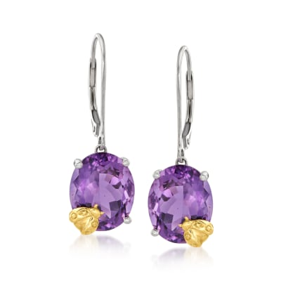 7.50 ct. t.w. Amethyst Ladybug Drop Earrings in Sterling Silver and 14kt Yellow Gold
