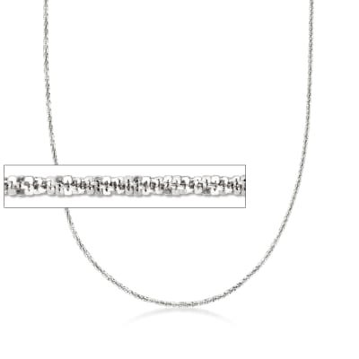 Italian 1.5mm Sterling Silver Adjustable Slider Crisscross Chain Necklace