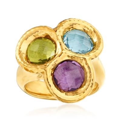Italian Andiamo 4.50 ct. t.w. Multi-Gemstone 14kt Yellow Gold Ring Over Resin
