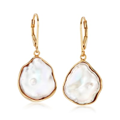 15-17mm Cultured Baroque Keshi Pearl Drop Earrings in 18kt Gold Over Sterling