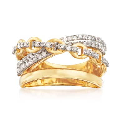 .50 ct. t.w. Diamond Link Crisscross Ring in 18kt Gold Over Sterling