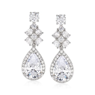 10.60 ct. t.w. CZ Drop Earrings in Sterling Silver