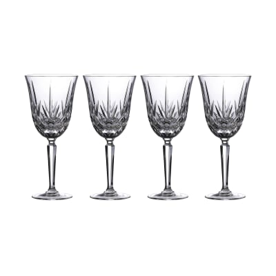 "Marquis by Waterford Crystal ""Maxwell"" Set of 4 Goblet Glasses from Italy"