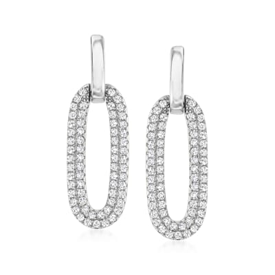 .60 ct. t.w. CZ Oval Drop Earrings in Sterling Silver