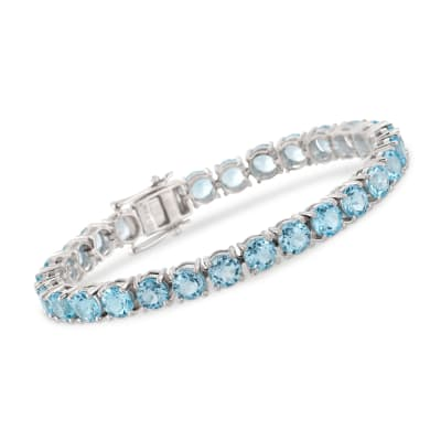 30.00 ct. t.w. Blue Topaz Tennis Bracelet in Sterling Silver